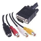Cable HDMI de alta velocidad VGA a S-Video 3 RCA hembra convertidor AV compuesto de televisión por cable adaptador de salida for el ordenador portátil PC Tablet portátil Admite TV / monitor 4K, PC, et
