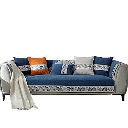 AMYZ Fundas de sofá clásicas Chinas para Sala de Estar,Fundas de reposabrazos de sofá Antideslizantes Fundas de Brazo de sofá para sofá de Cuero,Azul Marino,7070cm