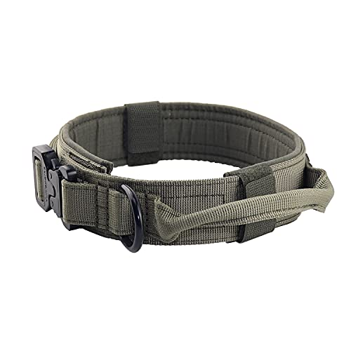 """Yunlep Adjustable Tactical Dog Collar Military Nylon Heavy Duty Metal Buckle with Control Handle for Dog Training,1.5"""" Width (L, Ranger Green)"""