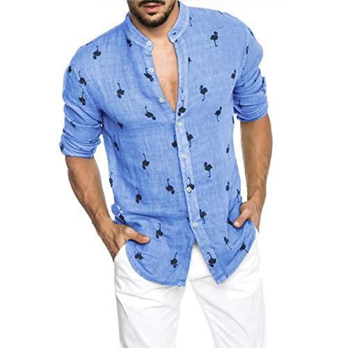 Camisas de Lino de algodón para Hombres, Camisa Informal de Manga Larga...