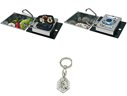 Zisa-Kombi Klappbare Kocher-Spülen-Kombination 1-flammig 30mbar mit Wasserhahn (93298870505) mit Anhänger Hlg. Christophorus
