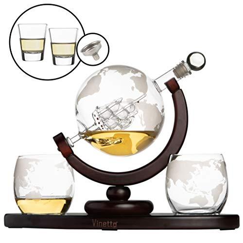 Vinetto Whiskey Globe Decanter Set with 2 Etched Globe Whisky Glasses & Shots Glasses - Whiskey Decanter for Liquor, Scotch, Bourbon, Vodka (850ml) - World Etched Scotch Decanter Set with Antique Ship