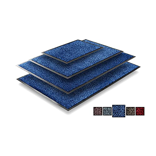 TRIBURG® Felpudo de Entrada 60x90 Azul Negro - resistente a la perie, impermeable, lavable - Alfombrilla Exterior 60 x 90 - Alfombra Exterior para Puerta antideslizante exterior e interior