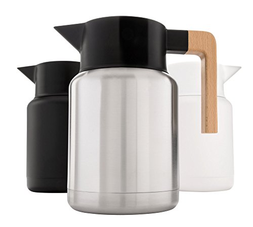 Heavy Duty Thermal Coffee Carafe - Stainless Steel, Double Walled Thermal Pots For Coffee and Teas by Hastings Collective - Silver, Vacuum Carafes With Removable Tea Infuser and Strainer - 50 Oz.