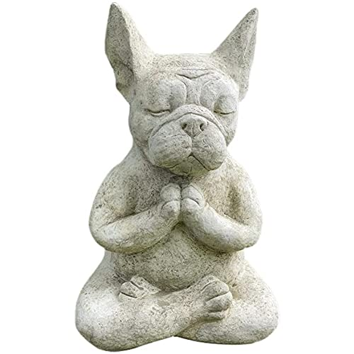 French Bulldog Buddha Meditation Statue, Yoga Dog Garden Sculpture Collection Statue Home Indoor Outdoor Patio Lawn Decoration
