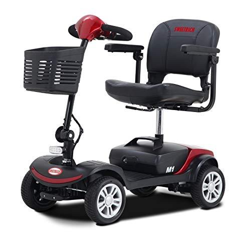 swemo Kompakt Elektromobil, E-Scooter, Seniorenmobil SW1000S, 6 km/h, mit 12AH Blei-Akku, 4 Räder Elektromobil, Mobility Scooter, 18 km Reichweite, Innenbereich einsetzbar (Rot)