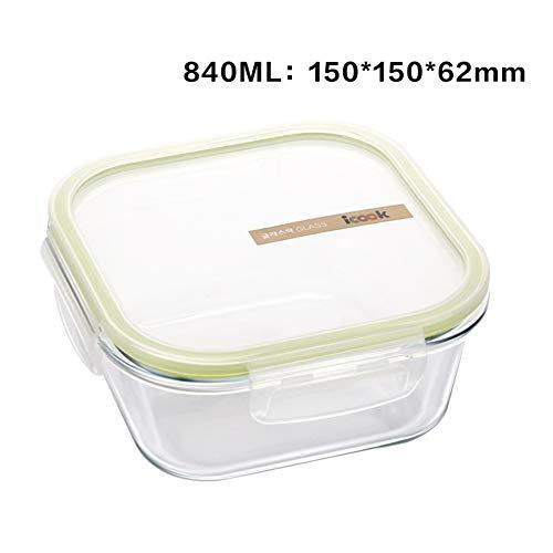 Glazen vershouddozen, BPA-vrij, rechthoekige lunchbox, glazen container met deksel, luchtdicht, vershouddoos lekvrij, veilig voor oven, magnetron, vriezer en vaatwasser