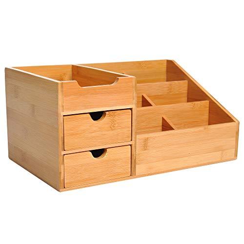 HOMCOM Organizador de Escritorio de Bambú Sistema de Escritorio Organizador de Mesa para Oficina Multifuncional 33x20.5x15.5cm