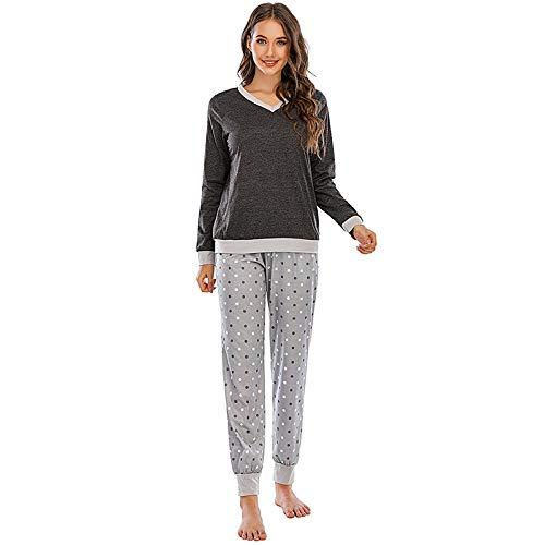 Damskie zestawy piżamowe, wiosna elegancka dwuczęściowa bielizna nocna z długim rękawem czarna bluzka z kropkami małe spodnie z nadrukiem wygodne puszyste domowe ubranie dla kobiet szlafrok prezent dla kobiety miesiąc miodowy, XXL