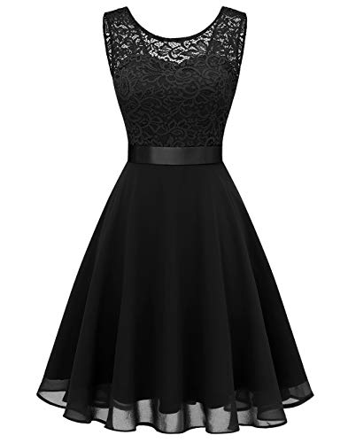 BeryLove Damen Spitzenkleid Brautjungfer Elegant Party Knielang Cocktailkleid Chiffon Ärmellos BLP7005B-BlackS