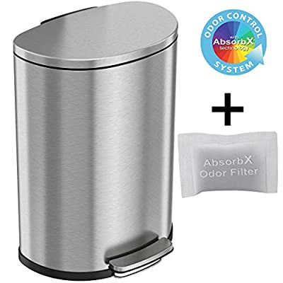 iTouchless SoftStep 13.2 Gallon Step Trash Can with Odor Control System Stainless Steel, Semi-Round, 50 Liter Garbage Bin for Kitchen, Office, Home-Silent and Gentle Open/Close, Space Saving
