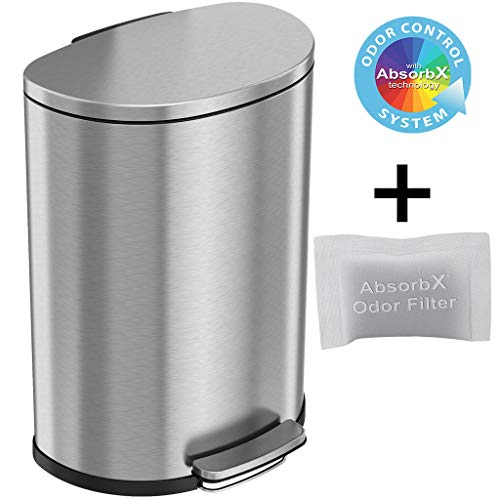 iTouchless SoftStep 13.2 Gallon Semi-Round Step Trash Can with Odor Control System, Stainless Steel 50 Liter Kitchen Space-Saving Pedal Garbage Bin for Office, Home, Silent & Gentle Open/Close
