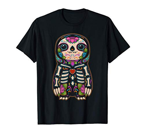 Sloth Sugar Skull Mexico Calavera Dia De Los Muertos T-Shirt