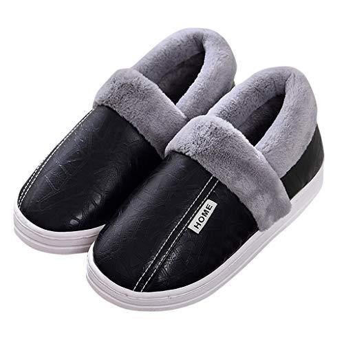 OHQ Zapatillas De Casa Unisex con Forro CáLido Zapatos De JardíN Impermeables para Interiores Y Exteriores Antideslizante