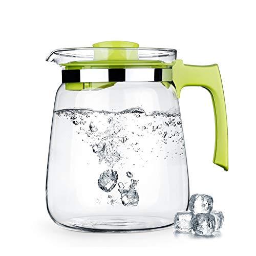 JANRON Jarra de Cristal de 1.5L/2L para Agua, Botella de Vidrio con...
