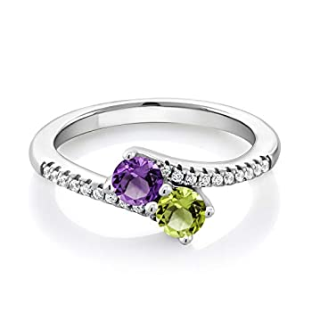 Gem Stone King 925 Sterling Silver Purple Amethyst and Green Peridot Women Bypass Ring  0.79 Ct Round Available in size 5 6 7 8 9