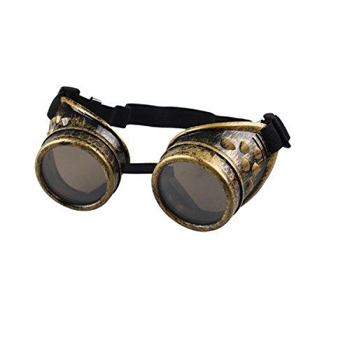 Amison Spezial- Jahrgang Stil Steampunk Brille Schweißen Punk Brille Cosplay (Gelb)