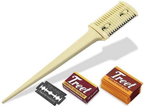 Effilierer Effiliermesser zum Ausdünnen und Schneiden von Haaren mit 10 Ersatzklingen
