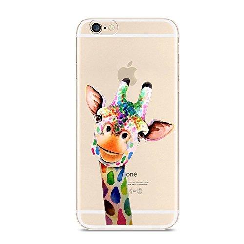 CrazyLemon iPhone 7 Hülle, iPhone 8 Hülle, iPhone SE Hülle, Bunt Niedlich Muster Soft Flex Silikon Transparent Bumper Handyhülle für iPhone 7 / iPhone 8 Hülle Cover 4.7 Zoll - Bunte Giraffe