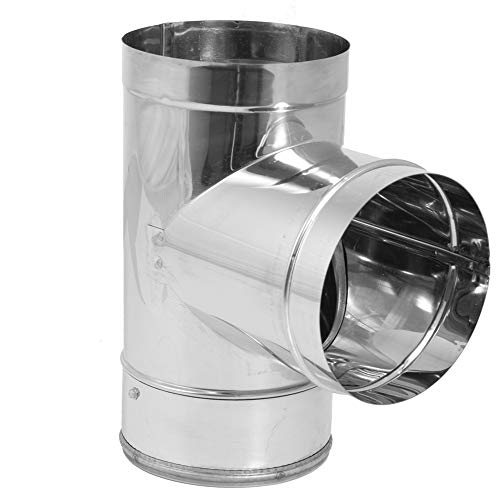 DuraVent 8DBK-TSS DuraBlack SS Tee with Clean-Out Cap, Use with Rear Exit Appliances and Appliances that Require a Barometric Damper, Stainless Steel, 8