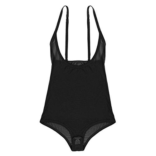CHICTRY Damen Body Brustfrei Bodysuit Overalls Jumpsuit Durchsichtig Babydoll Lingerie Unterhemd Schritt Offen Spaghetti Bikini Monokini Schwarz Einheitsgröße