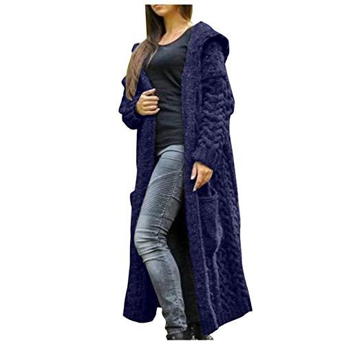 Preisvergleich Produktbild Frauen Winter solide solide gestrickte lose Kapuze Lange Strickjacke Pullover Taschenmantel Jacke Damen