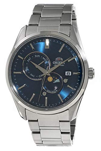 ORIENT 'Sun & Moon' Automatic Blue Dial Sapphire Glass Steel Watch RA-AK0303L