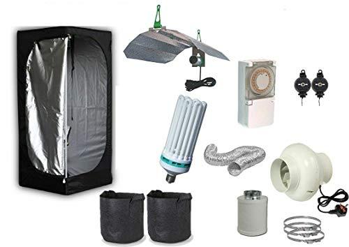 Swiftair Complete CFL Hydroponic Grow Room Wardrobe Tent Fan Filter Light Kit 60x60x140 (Tent: 60x60x140; CFL: 300W; Filter Kit; Hangers)