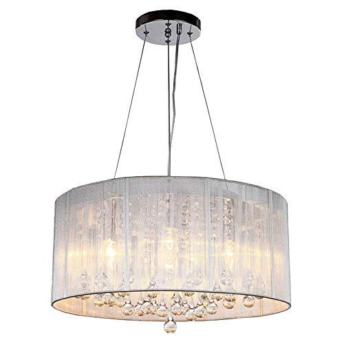 ZAKRLYB. Moderno lampadario di cristallo semplice tamburo pendente moderno 4 luci teste E12 / E14 lampada a sospensione paralume in tessuto stile europeo plafoniera adatta soggiorno sala da pranzo