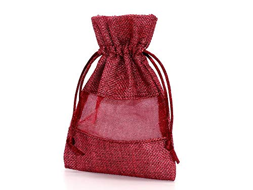 (SAJ) 巾着袋 ラッピング 包装 巾着ポーチ 小物入れ (11cm×16cm) 麻布×オーガンジー (赤) (1個)