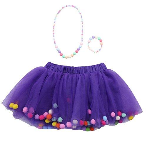 Xmiral Ragazze/Bambina Petticoat Sottogonna Tutu Tulle 3 Pezzi di Alta qualità per Bambina Tutu gonne Balletto + Bracciale + Collana Set da Festa (2-6 Anni,2- Viola)