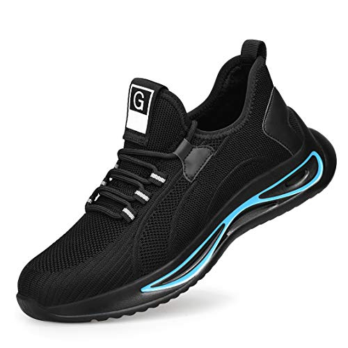 HMAKGG Zapatillas de Seguridad para Hombre Mujer Deporte con Punta de Acero Zapatos de Trabajo para Correr Gimnasio Sneakers Casual Transpirable,Negro,37 EU