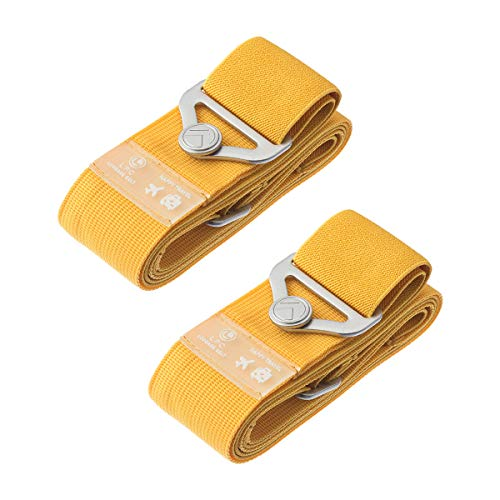 Luggage Straps Suitcase Bungee Belts Travel Accessories Bag Straps (2-pack Yellow)