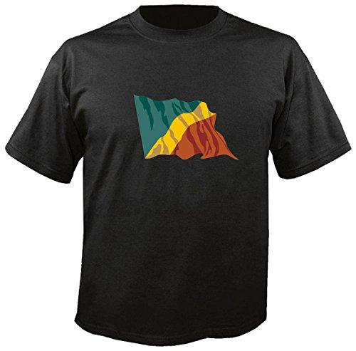 T-Shirt für Fußball LS40 Ländershirt M Mehrfarbig Congo - Kongo mit Fahne/Flagge - Fanshirt - Fasching - Geschenk - Fasching - Sportshirt freie Farbwahl