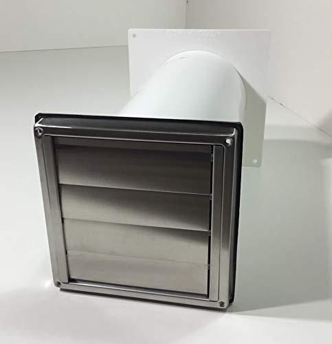 VentilationNord muurkast NW100 afzuigkap roestvrij staal kap terugslagklep telescoop buis MKWSQLE100BDS