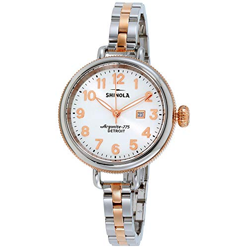 Shinola Detroit Women's The Birdy 34mm - 20001100 Pearl White/Stainless Steel/Rose Gold