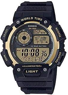 ساعة كاجوال مطاط جى-شوك من كاسيو للرجال، اسود ذهبي - AE-1400WH-9AVDF