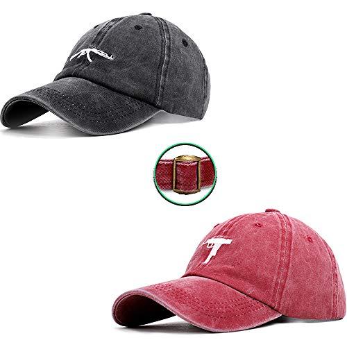 MXMYFZ 2 * Retro Baseballmütze, Kreativ Ak/Uzi Stickerei-Golf-Kappe Unisex Sonnenhut Paar Schirmmütze, geeignet für Outdoor-Sport und Freizeit,Black ak+red Uzi
