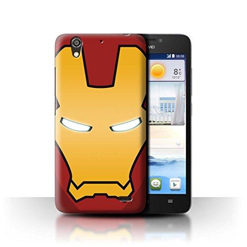 Hülle Für Huawei Ascend G630 Superheld-Helm Rot/Gold Roboter Design Transparent Ultra Dünn Klar Hart Schutz Handyhülle Hülle