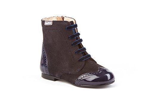 Botas Pascualas Charol+Afelpado para Niñas Todo Piel mod.599. Calzado Infantil Made in Spain, Garantia de Calidad. (33, Azul Marino)
