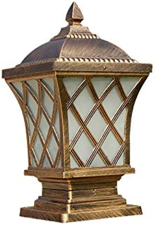 LifeX Wasserdichte IP65 Outdoor Sulenleuchte Vintage Patio Gang Rasen Sule Lampe Villa Sulenleuchte Balkon Post Laterne Aluminiumdruckguss Glas Garten Sockel Lampe Leuchte (Farbe   Bronze-S)
