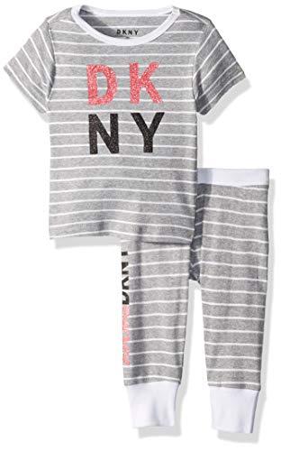 DKNY Mädchen Striped T-Shirt and Pant Sleepwear Pyjama Set, grau meliert, 6X Plus