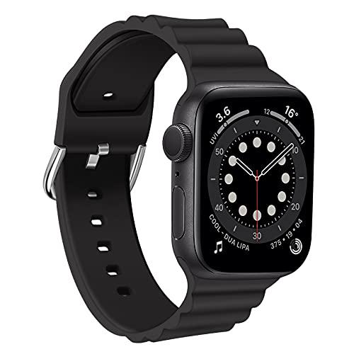 ZMKOONT Cinturino Apple Watch Compatibili con Cinturino Di Ricambio Regolabile in Silicone Morbido per iWatch Series SE 6 5 4 3 2 1 38mm 40mm 42mm 44mm Donna Uomo (Nero, 42/44MM)