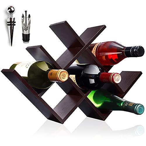 IZFKJOOI Countertop Wine Rack, Tabletop Wine Holder for 8 Bottle Wine,(Auburn Color Mahogany)