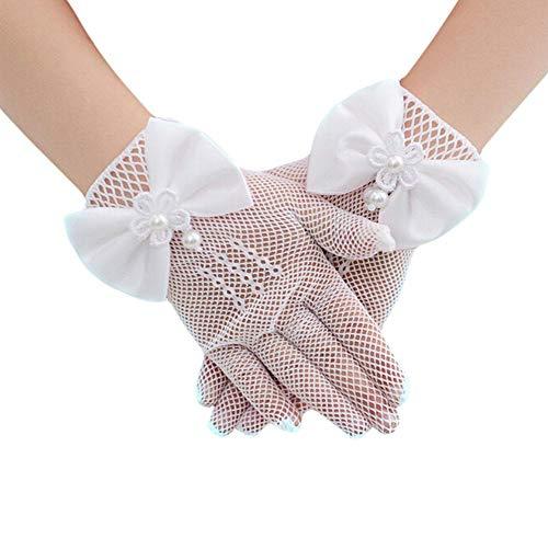 Renquen - 1 par de guantes de princesa de encaje para vestido de novia o niña de malla con lazo, color blanco