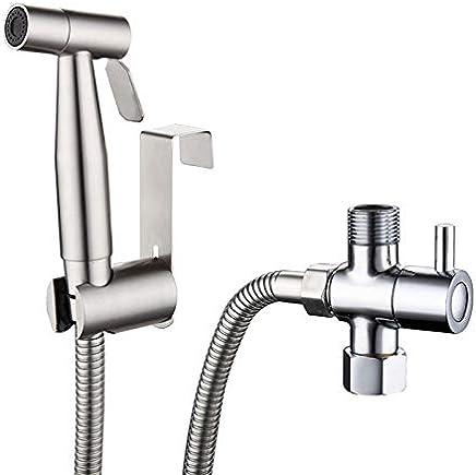 Handheld Bidet Sprayer Kit for Toilet G1/2 Valve Chrome,304 Stainless Steel Holder,1.5 m Hose (Bidet-01)