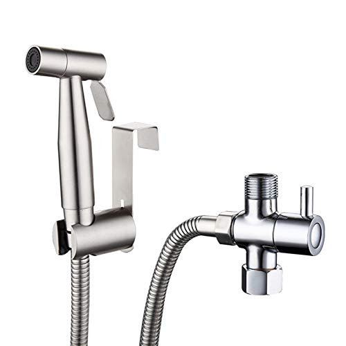 Grifos de Bidé Acero Inoxidable con G1/2'Válvula desviadora Manguera y Titular Multi-funcional de baño (T-adapter)