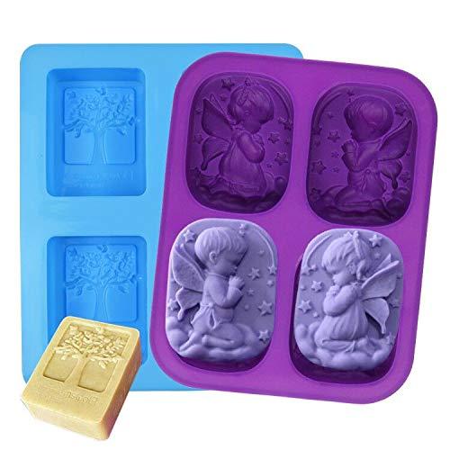 SIMUER Lote de 2 moldes de Silicona para jabón, árbol y ángulo, 4 Cavities rectangulares, para Hacer Pasteles o Pasteles