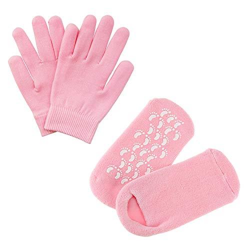 Pinkiou Soften SPA Gel Feuchtigkeitsspendende Handschuhe und Socken für Moisturize Cracked Skin Care (Pink)