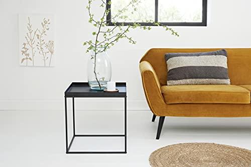 LIFA LIVING Moderner Beistelltisch in Würfelform, Cube Couchtisch aus schwarzem Metall, Würfel Nachttisch im Industrie Design, Wohnzimmertisch in 48x48x50 cm